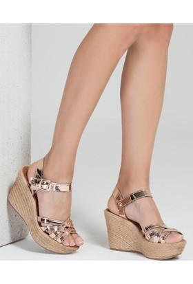 Mecrea Estela Rose Gold Dolgu Topuklu Sandalet
