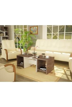 Lady Orta Sehpa Takımı Beyaz Ceviz 3'lü Set Şık ve Modern Tasarım