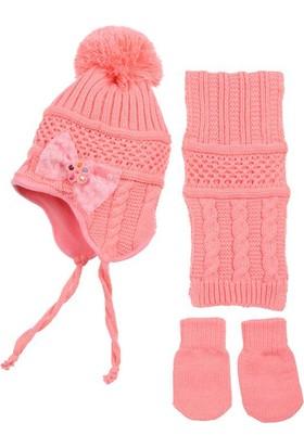 Kitti Kız Bebek Atkı Bere Eldiven Takımı 0 - 18 Aylık Şeker Pembe K7902
