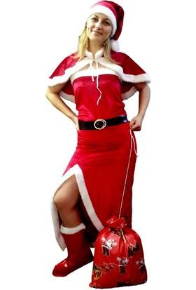 Kostümce Noel Anne Kostümü Yırtmaçlı Kadife