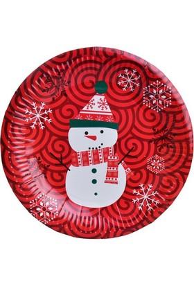 Beysüs Yılbaşı Partisi İçin Kardan Adamlı Kağıt Tabak Kırmızı