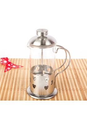 Paslanmaz Çelik French Press - Bitki Çayı Demliği - Filtre Kahve Potu - 350 Ml