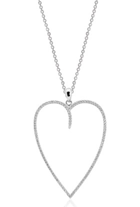 Khailo Silver Büyük Kalp Kolye Ucu P0728Ww