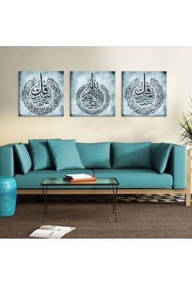 Ayet-el Kürsi, Nas Suresi ve Felak Suresi Yazılı 3 Parçalı Kanvas Tablo
