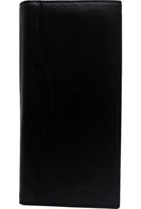 Grande Gd 1361 S 2 Siyah Hakiki Deri Çek Defteri Cüzdanı Kartlık