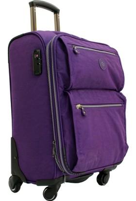 Mçs V111 1 Mor 2 Krinkle Kumaş Büyük Boy Valiz Bavul