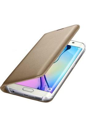 Teknoarea Samsung Galaxy J7 2017 Suni Deri Cüzdan Kılıf Flip Wallet Gold
