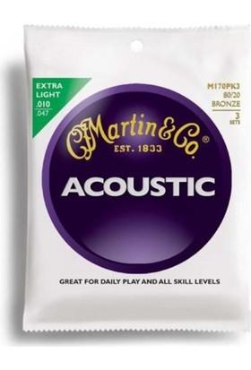 Martin M170Pk3 10-47 Akustik Gitar Teli - 3 Set 80/20 Bronze (Extra Light)