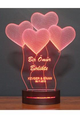 Kumandalı 16 Renk 3 Boyutlu Lamba Kalp Tasarım Kişiye Özel Aynı Gün Kargo