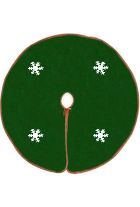 Kostümce Kar Tanesi Desenli Yeşil Yılbaşı Çam Ağacı Altlığı 95 cm