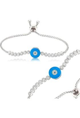 Gumush Gümüş Ayarlanabilir Mavi Nazar Bileklik