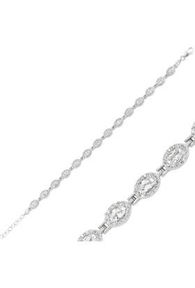 Gumush Gümüş Zirkon Taşlı Su Yolu Bileklik 160056