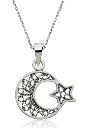 Gumush Gümüş Ay Yıldız Kolye 156773
