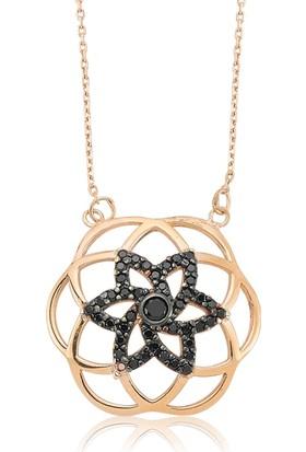 Gumush Gümüş Siyah Yaşam Çiçeği Kolye 157875