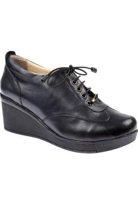 Shalin Hakiki Deri Lacivert Kadın Ayakkabı - Hkn 5025