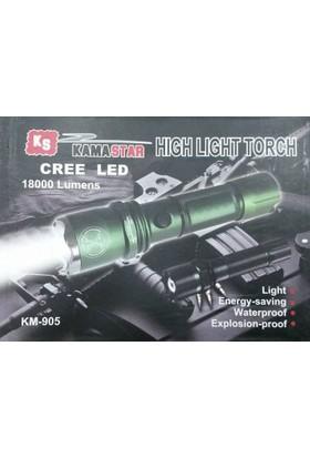 Kama Star Km-905 Şarlı El Feneri Silah Aparatlı Zoomlu
