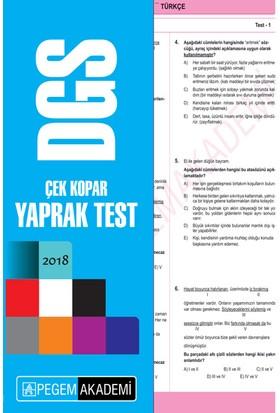 2018 DGS Çek Kopar Yaprak Test