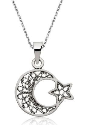 Gumush Gümüş Ay Yıldız Kolye