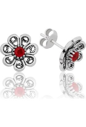 Gumush Gümüş Kırmızı Çiçek Küpe