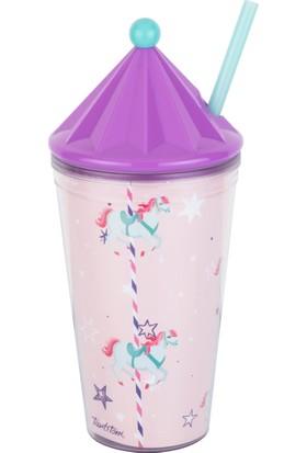 Tantitoni Plastik Atlı Karınca Desenli Pipetli Bardak - 475 ml