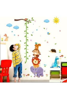 Zooyoo Gelişim Boy Ölçer Aslan Maymun Sincap Büyük Boyut Çocuk Odası Ev Sticker Duvar Çıkartması 155X165Cm
