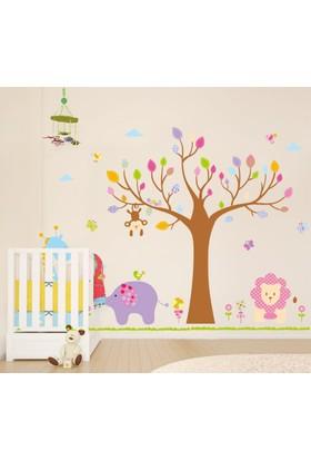 Zooyoo Çocuk Odası Duvar Sticker Fil Zürafa Maymun Aslan Orman Doğa Büyük Görsel 210X150 Cm Dir