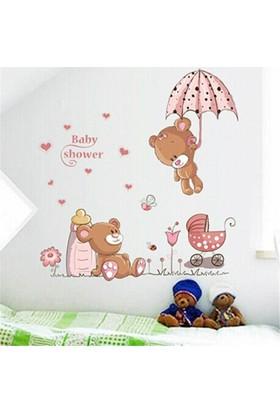Zooyoo Çocuk Ve Bebek Odası Duvar Sticker Sevimli Pembe Ayı Baby Shower 90X80Cm