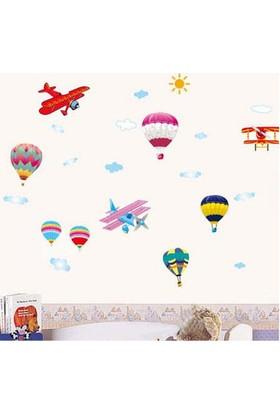 Zooyoo Sıcak Uçan Balonlar Renkli Büyük Boy Bebek Ve Çocuk Odası Ev Duvar Sticker