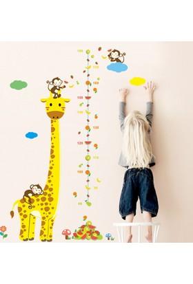 Zooyoo Gelişim Boy Ölçen Zürafa Ve Sevimli Maymunlar Çocuk Odası Ev Sticker Duvar Çıkartması