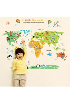 Zooyoo Renkli Büyük Resimli Dünya Haritası Ev Dekoratif Çocuk Odası Resim Sticker 110X86 Cm