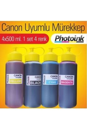 Photoink Bitmeyen Kartuş Canon Mürekkep Seti 4X500 Ml