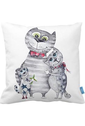 Bc Home Kedi Ailesi Dekoratif Yastık / Kırlent Kılıfı