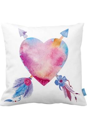 Bc Home Kalp Desenli Dekoratif Yastık / Kırlent Dolgulu