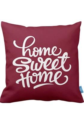 Bc Home Home Sweet Home Bordo Dekoratif Yastık / Kırlent Dolgulu
