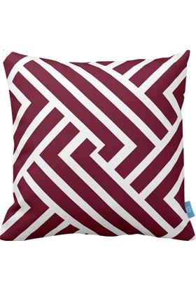 Bc Home Bordo Geometrik Desenli Dekoratif Yastık / Kırlent Kılıfı