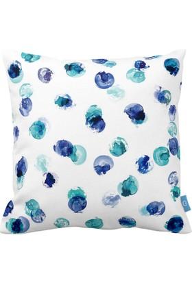 Mavi-Yeşil Suluboya Dekoratif Yastık / Kırlent Kılıfı