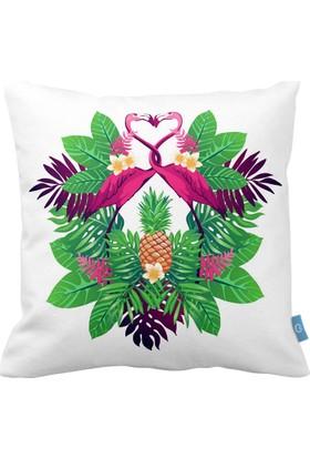 Bc Home Flamingo Desenli Dekoratif Yastık / Kırlent Dolgulu