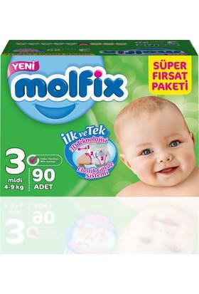 Molfix Bebek Bezi 3 Beden Midi Süper Fırsat Paketi 90 adet