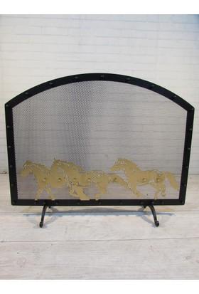 Metal Tasarım Şömine Siperlik At Motif 026