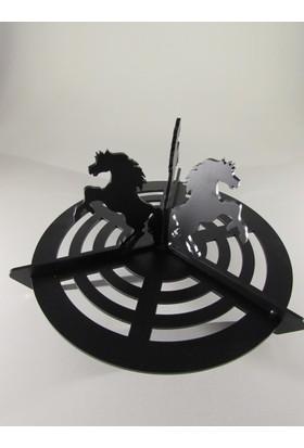 Metal Tasarım Şömine Izgarası Atlı