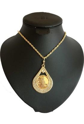 Forentina Altın Kaplama Tuğra Madalyon Kolye FR0536