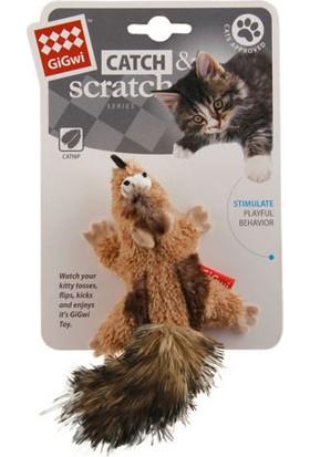 GiGwi 7113 Catnipli Peluş Çizgili Sincap Kedi Oyuncagı