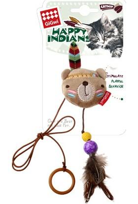 GiGwi 7246 Peluş Tüylü Ayı Oyuncaklı Parmak Kedi Oltası