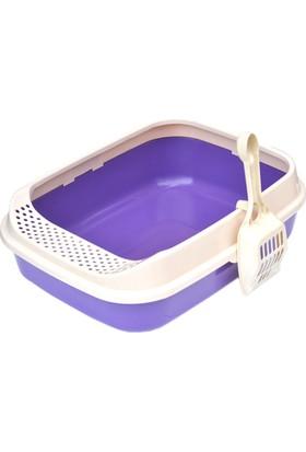 Flip Lüx Açık Kedi Tuvalet Kabı Mor