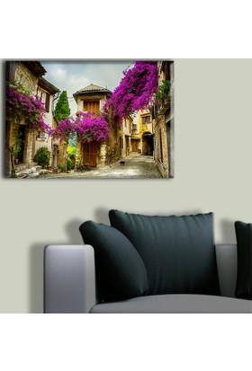 Tablo Art House Mor Çiçekli Sokak Tek Parça Kanvas Tablo 30 x 40 cm