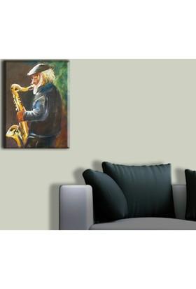 Tablo Art House Yaşlı Müzisyen Tek Parça Kanvas Tablo 30 x 40 cm