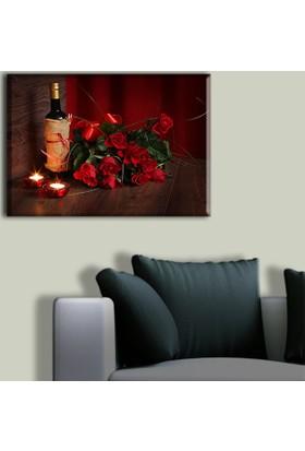 Tablo Art House Güller ve Şarap Tek Parça Kanvas Tablo 30 x 40 cm