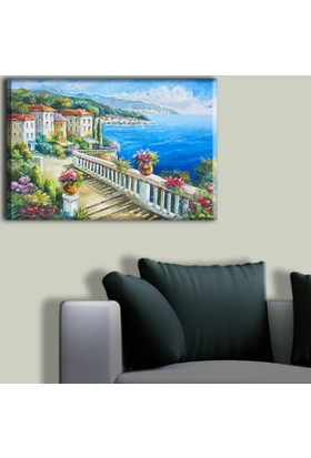 Tablo Art House Yağlıboya Sahil Kasabası Manzarası Tek Parça Kanvas Tablo 30 x 40 cm