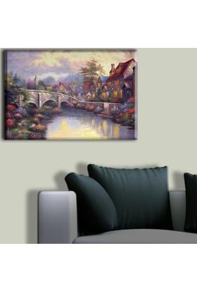 Tablo Art House Yağlıboya Köprü ve Evler Tek Parça Kanvas Tablo 30 x 40 cm