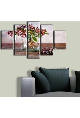 Tablo Art House Yağlı Boya Vazo ve Çiçek 5 Parça Kanvas Tablo 60 x 100 cm